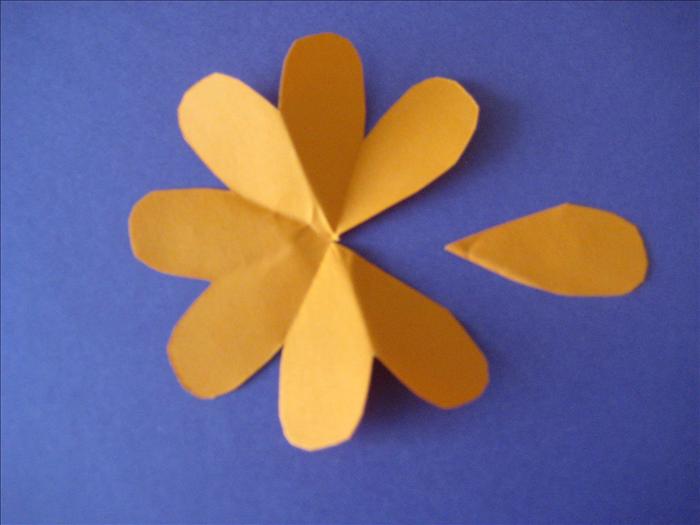 Carefully  unfold the papers. Cut out one of the petals along the crease lines.