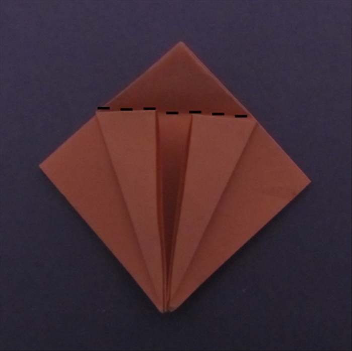 Fold the top point down along the edges of the flaps you just made. Unfold