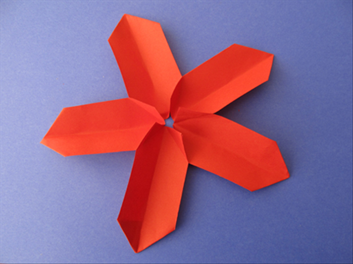 How to make a paper flower with 5 petals 5 rectangles of stiff colored paper the length is 2 x the width you can cut a square in half paper glue stick mightylinksfo