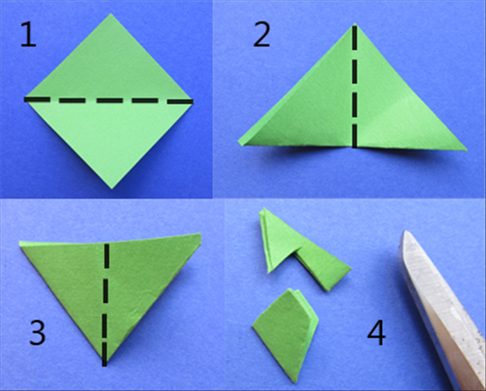Cut a 1 ¾ inch square of green paper 