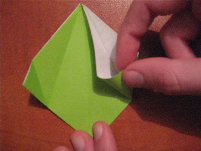 Lift up the right top layer and fold it along the diagonal crease to align the edge with the center crease.