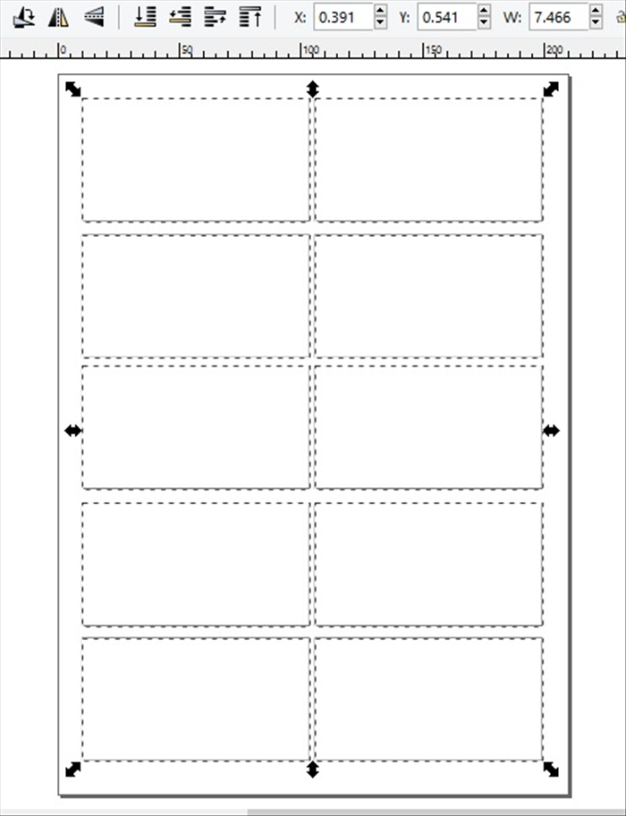 <p> 9. Save this file. If you want to draw your flipbook by hand you can print out this page as many times as needed or use it to create the animation drawings with Inkscape.</p>  <p> * Keep in mind the printer setting for no margings. *  If you want the page to print with margins,  Select all the rectangles and ajust their size so that there is a margin around the top, bottom and sides of the page.  </p>