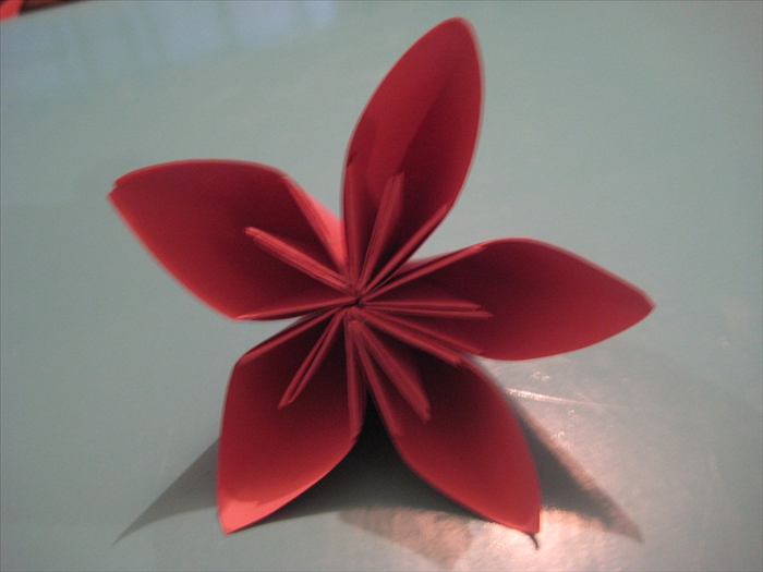 Glue all the the petals together.   Your Kusadama flower is finished!