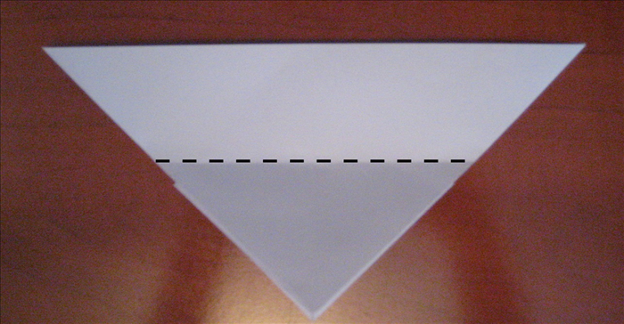 Flip the paper over to the back side.   Fold the point of one layer at the bottom up as far as it will go.   See next picture for result.