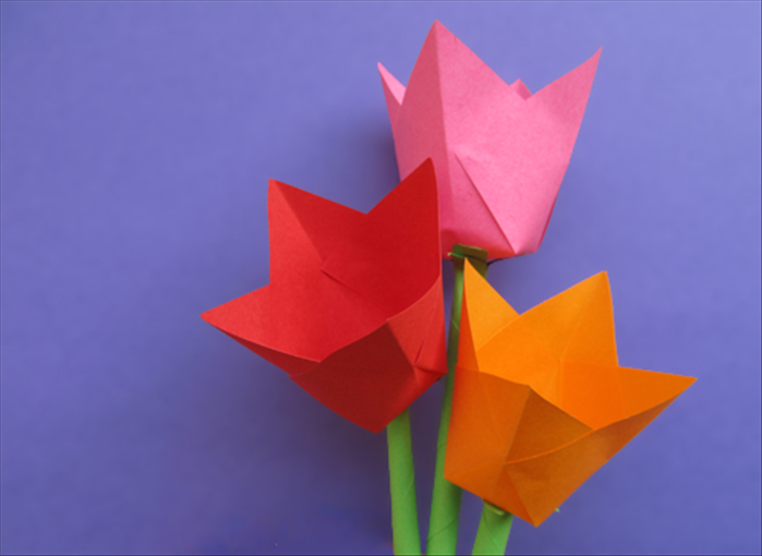 Origami paper flowers tulips flowers healthy 1 square paper for flower 1 square or rectangle for the stem scissors paper glue chop stick paintbrush or similar object how to make paper tulips children mightylinksfo