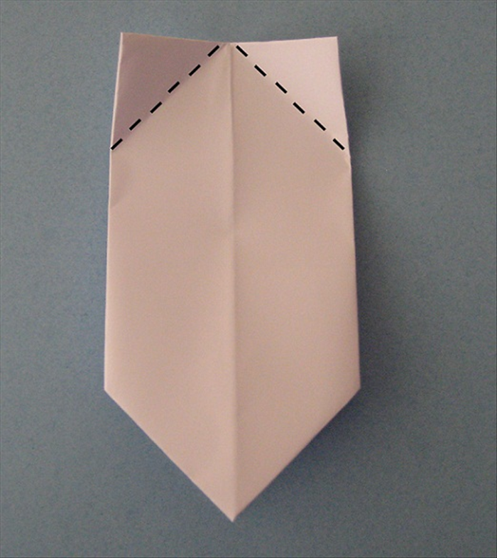 Place the paper with the folded edge at the top.  Fold the 2 corners down to align with the center crease. Unfold.