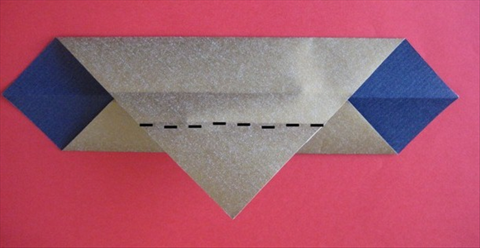 Fold the bottom point on the flap up to the top edge.