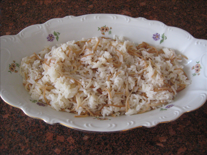 Ingredients: 1 cup uncooked fine noodles ¼ cup butter or margarine 1 cup rice 2 ½ cups water 1 ¼ teaspoons salt
