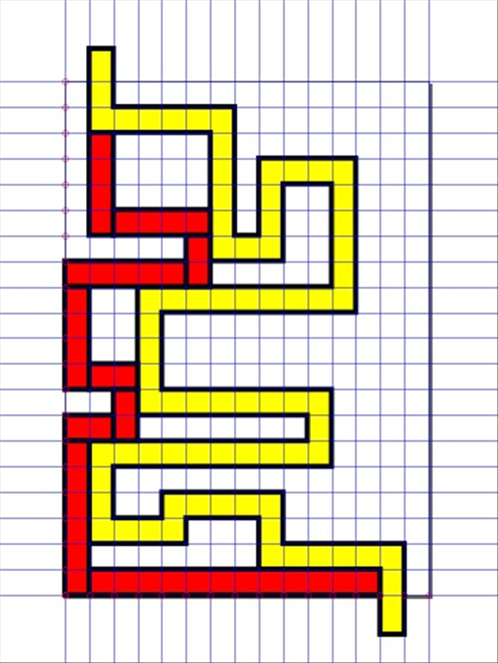 <p> 9. Make a new rectangle,</p>  <p> change the fill color to red and create another path with the start and end next to the yellow path .  </p>