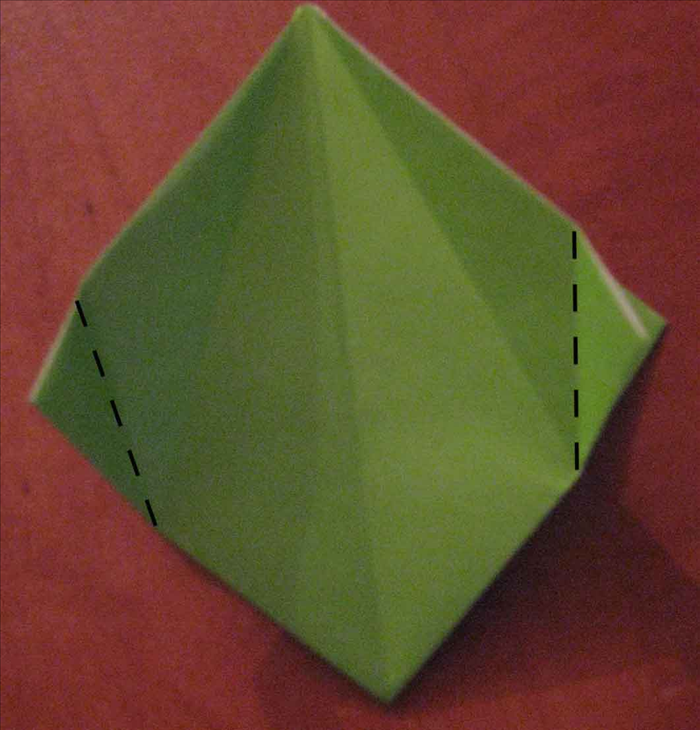 Fold the 2 side points horizontally from the bottom of the crease you just made in the last step.