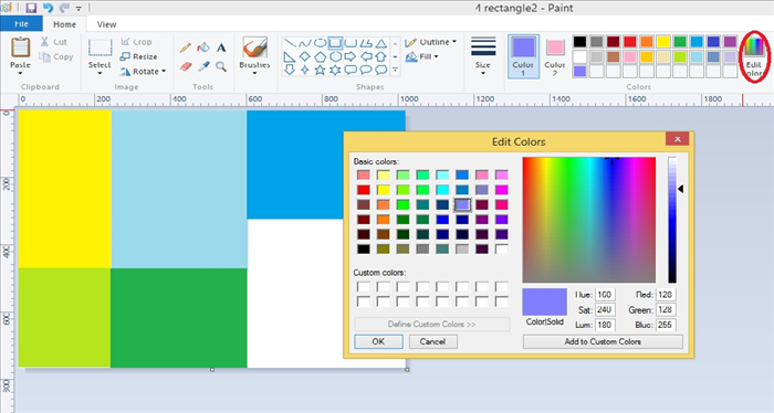 "<p> If you don't like the colors in the ""Colors"" boxes you can get more colors by clicking on ""Edit colors"" - circled in red.</p>  <p> Click on the color you like and click on ""OK"".</p>"