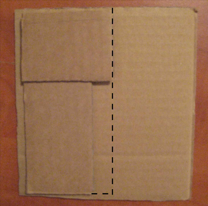 <p> Align corners of one of the smaller rectangles and one of the longer rectangles to get size of the bottom of the box. The short side of the small rectangle should be aligned with the long side of the big rectangle . Mark them and draw the shape with a ruler. Then cut the shape out.</p>