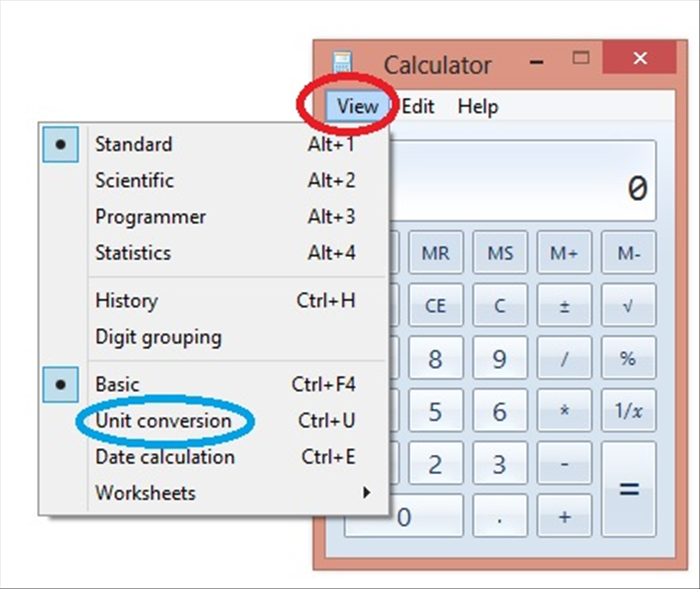"<p> To use a Windows Calculator:</p>  <p> Click on ""View"" - circled in red</p>  <p> then click on ""Unit conversion"" - circled in blue</p>"
