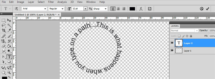 Click on the circle path and type your text