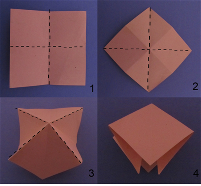 This model begins with the square base. If you do not know how to fold it, click on the guide for how to fold a square base.