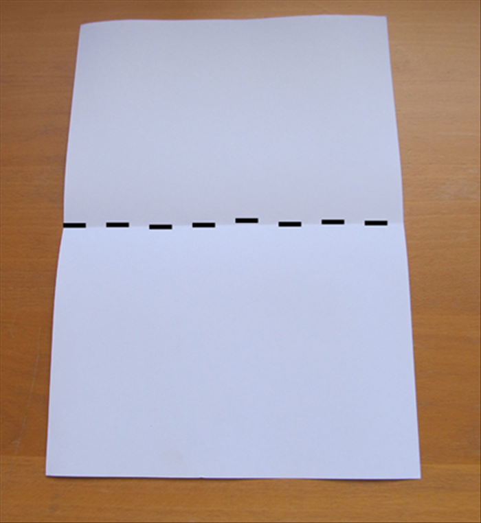 Place the paper so that the short ends are at the top and bottom. Bring the bottom up to the top to fold the paper in half.