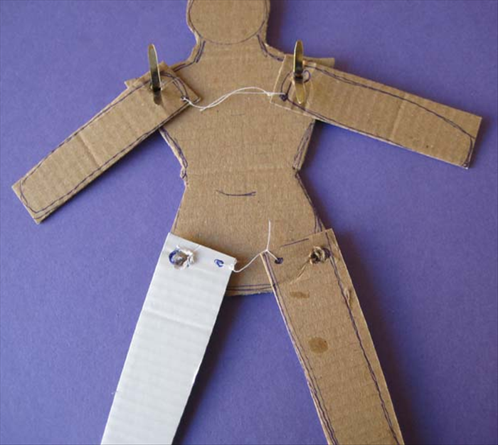 knot a string at each dot of the legs.