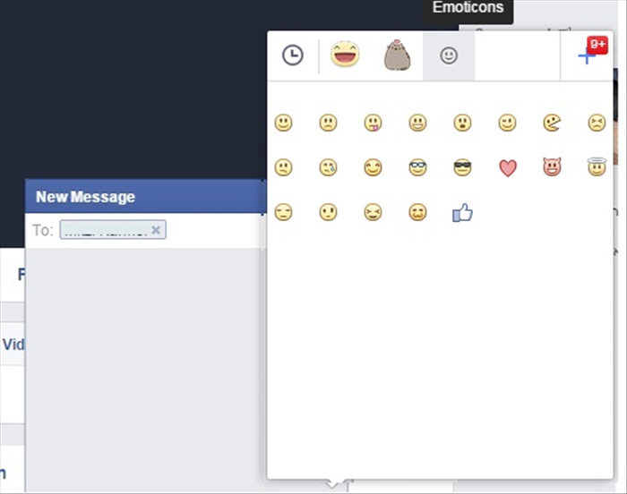 "<p> Here the ""Emoticons"" tab was clicked</p>   <p>  </p>"
