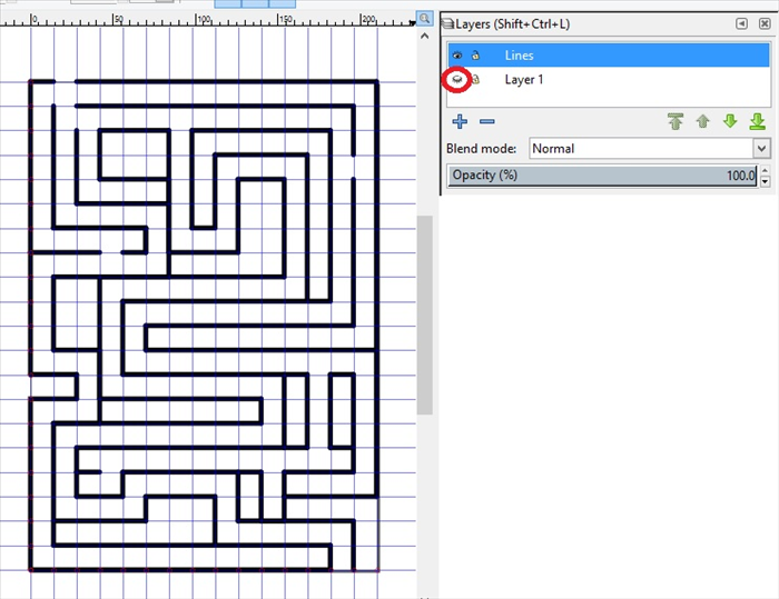 <p> 19. To see what the maze looks like  click on the Lines layer to highlight it and then click only on the eye icon of Layer 1, circled in red.</p>  <p> ***The Lines layer should still be highlighted.</p>  <p> You can add lines and make new entrances, if you want.  </p>