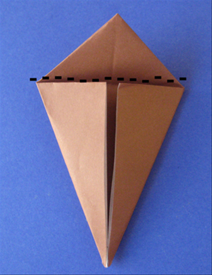 Fold the top triangle down along the flaps. Make a sharp crease and unfold. Flip the paper over and repeat on the back.