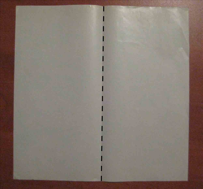 Place the side of the paper you want on the outside facing down   Fold the paper vertically in half and unfold.