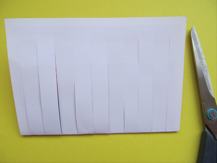 You can fold your paper and cut strips from the folded end any width you like.
