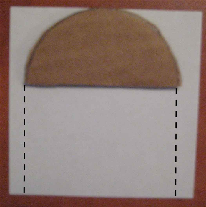 <p> Place the cardboard half circle on a piece of paper, Trace the bottom edge and make a line going down from both sides. The height of those lines will determine the height of your box. Cut out the rectangular shape.</p>
