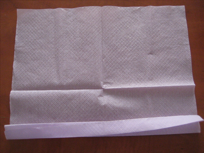 Continue with an accordion fold to the opposite edge of the napkin