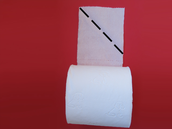 Unroll a few squares of toilet paper. Do not rip them off.   Fold the right top corner down to the left side to create a triangle.