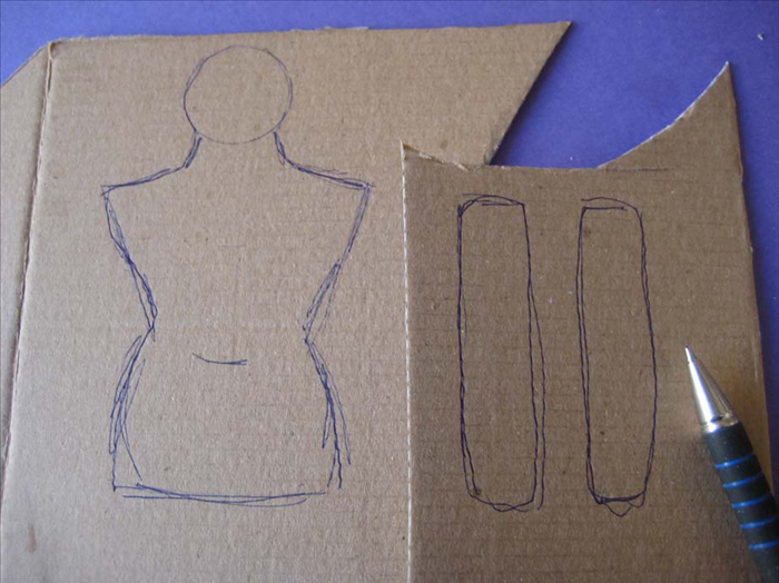 Draw the arms the length of the shoulders to the bottom of the torso.