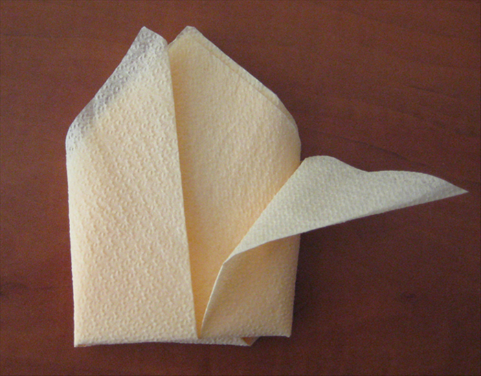 Flip the napkin over and pull  the points of the top layer down to the sides.