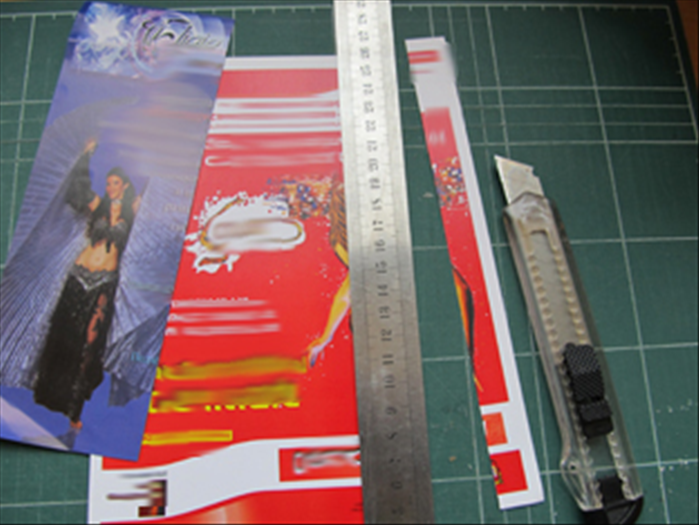 <p> Cut the junk mail or magazine pages into &amp;frac34; inch wide strips.</p>
