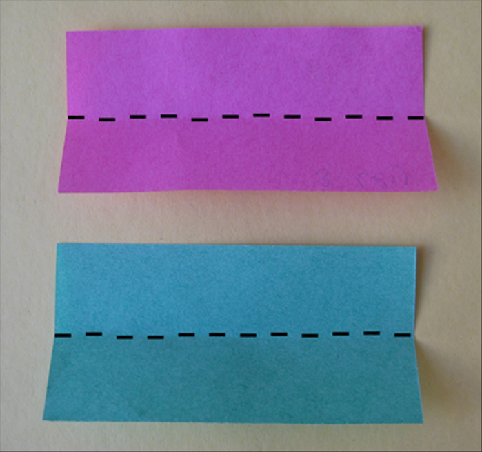 <p> Fold both rectangles in half lengthwise</p>