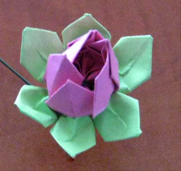 Turn over and squeeze the flower petals together for your finished flower.