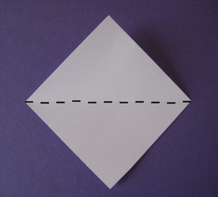 Bring the bottom point up to the top point to fold in half.