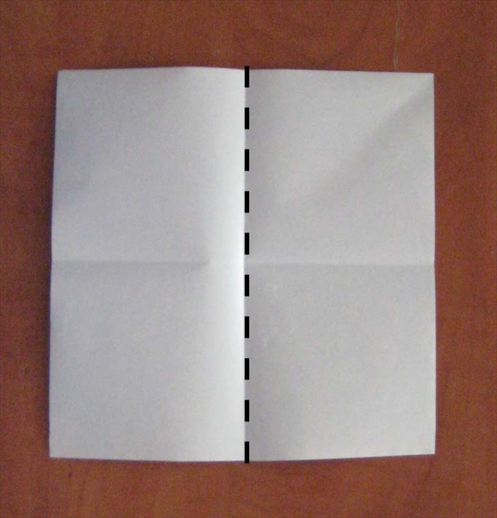Fold in half vertically and unfold.