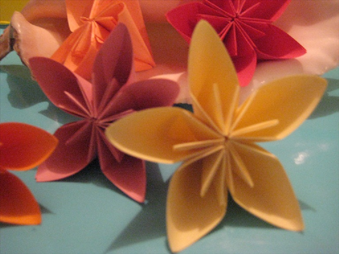 To make kusudama flowers you need 5 equal sized squares of paper and paper glue