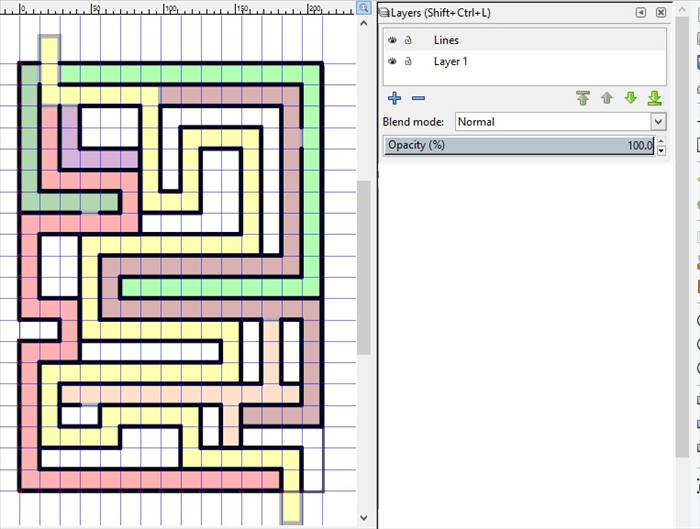 <p> 18. Repeat step 16 and 17 for different colored rectangle maze paths</p>  <p> ****Pay attention that layer 1 is highlighted in grey when you make the colored rectangles and the Lines layer is highlighted in grey when you make the lines.</p>  <p> On the Lines Layer make lines along the yellow maze path.</p>  <p> *Do not cover the entrances to the other maze paths at the top of the maze.</p>  <p> If you want to add an entrance from one maze path to another, Click on the Lines layer.</p>  <p> Click on the line covering the entrance and  shorten it to the entrance point. Then create another line starting from the space you want to make.  </p>