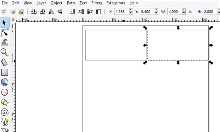 <p> 6. Select the rectangle.</p>  <p> Press Ctrl and D on your keyboard to make a copy.</p>  <p> Drag the copy next to the first rectangle.</p>  <p> Leave a little space to make it easier to cut out after printing the finished page  </p>
