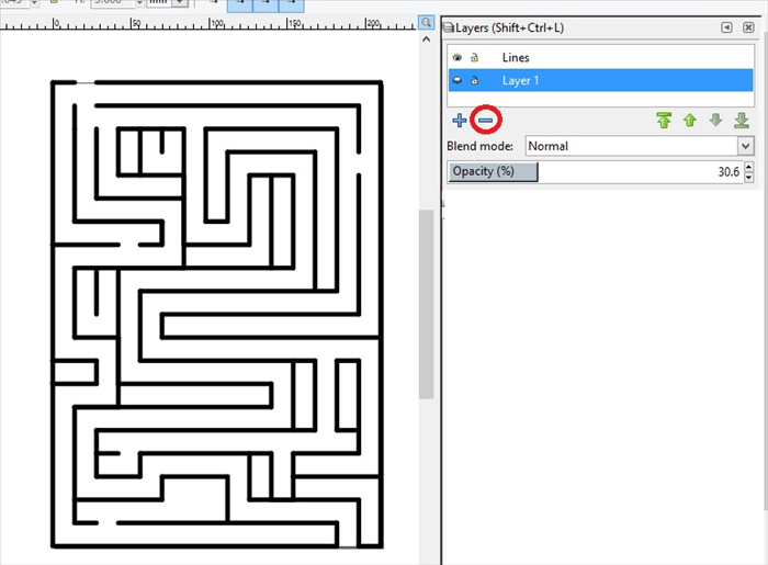 <p> 20. Click on View - Guides, to hide or show the page guide lines.</p>  <p> You can click on File - Save As - Inkscape SVG file and make changes later.</p>  <p> ** When you are finished making the maze, the easiest way to print only the lines is to</p>  <p>  Click on Layer1 and click on the minus sign to delete the colored maze.    </p>  <p> Have fun making simple and complicated mazes and experimenting with a different number of rows and columns!  </p>