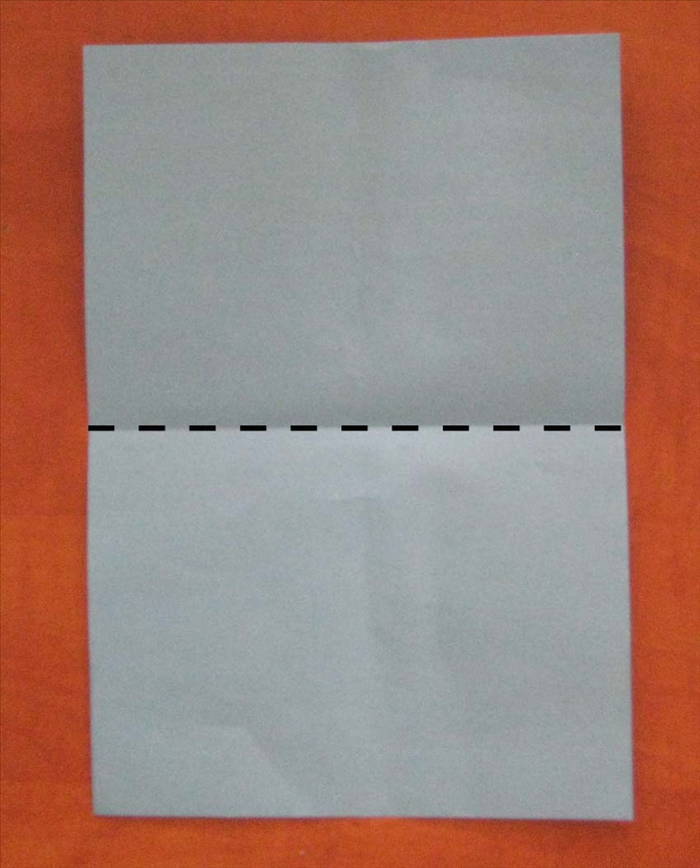 Place the paper so that the short ends are at the top and bottom  Bring the bottom edge up to the top to fold in half.