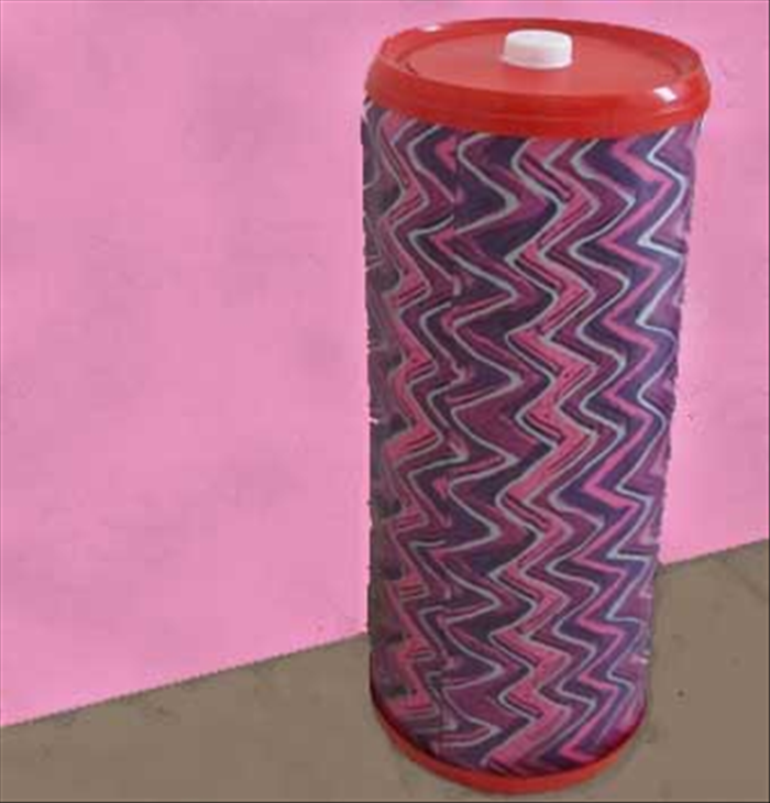 Put the tube on one lid, fill it with toilet paper rolls and cover with the lid with the cap.