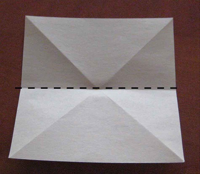 Flip the paper over to the back side. Place it so that the points are on the top and bottom sides.  Fold in half horizontally. Unfold