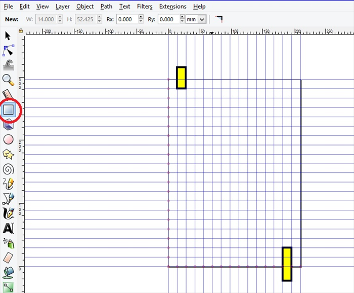 <p> 4. Click on the Create Rectangles and squares icon.</p>  <p> Make a yellow rectangle slightly above the start of the maze and another slightly below the finish of the maze.  </p>