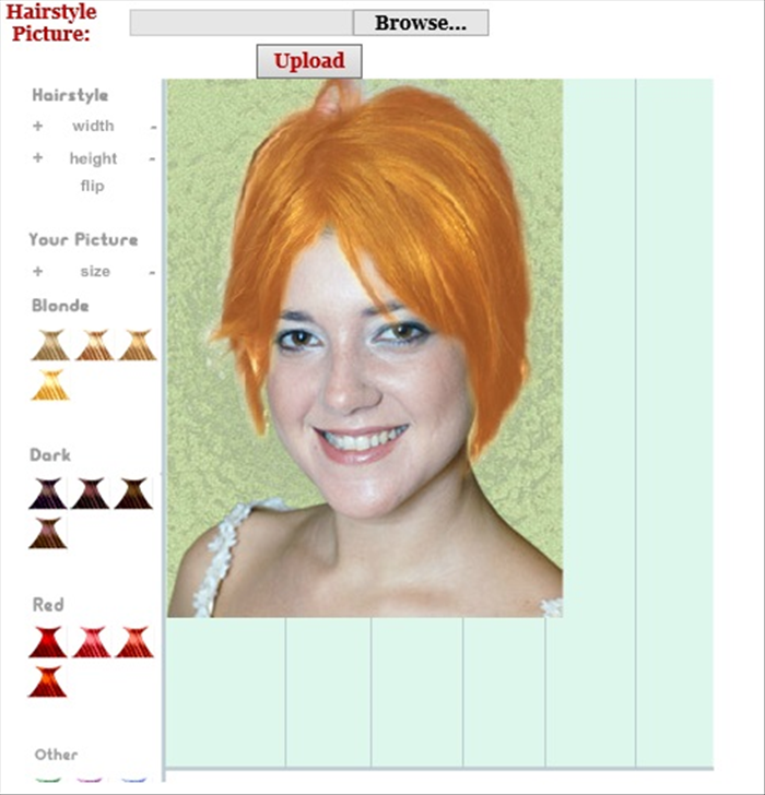 <p> Here you can just&nbsp;play around with different hairstyles and colors.</p>  <p> Choose&nbsp;hairstyles and change their width, length and colors</p>  <p> &nbsp;</p>  <p> <a href='http://www.hairstyles.knowage.info/' rel='nofollow'>http://www.hairstyles.knowage.info/</a></p>