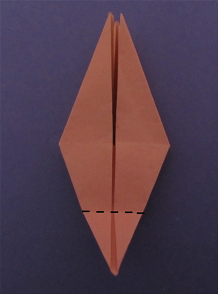 Fold the bottom point up to the center crease.