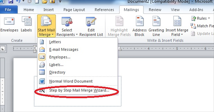 "Click on ""Start Mail Merge""  A menu will come down.  Click on ""Step by Step Mail Merge Wizard"""