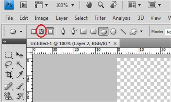 Click on the path tool – circled in red in the picture