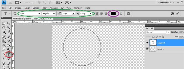 Click on the type tool – circled in red Choose the font you want – circled in green Choose the text color – circled in purple