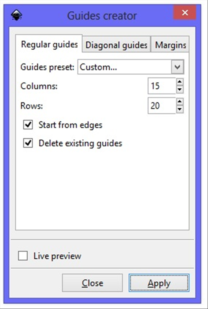 <p> 3. Make Columns: 15 and Rows:  20</p>  <p> and check marks next to Start from edges and Delete existing guides.</p>  <p> Click Apply  </p>